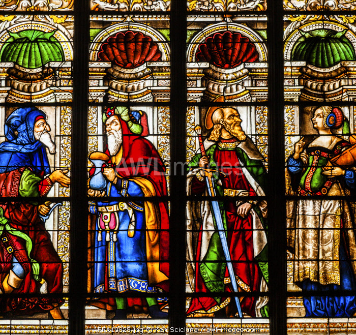 France, Occitanie, Auch. The beautiful Renaissance stained glass windows by Arnaud de Moles inside the Cathedral of Sainte Marie d Auch.