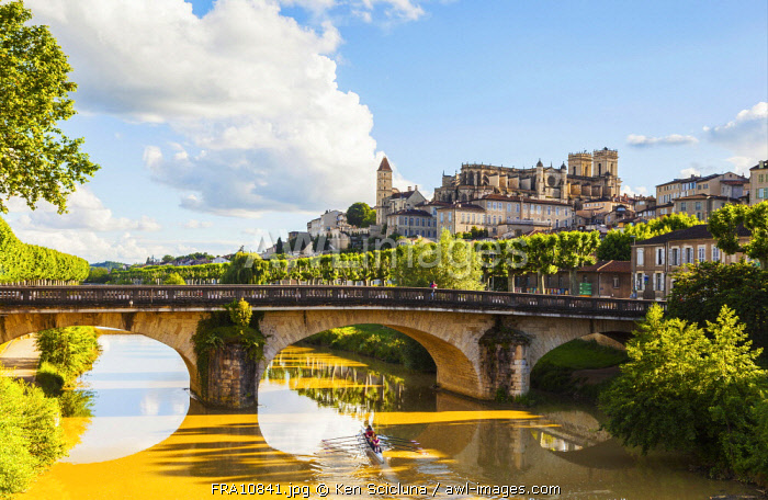 France, Occitanie, Auch. A historic bridge over the Gers river with the Cathedral overlooking the town.