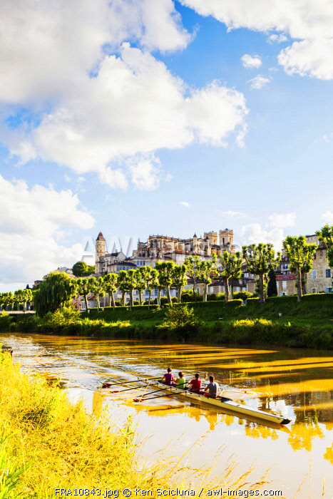 France, Occitanie, Auch. The Gers river with the Cathedral overlooking the town.