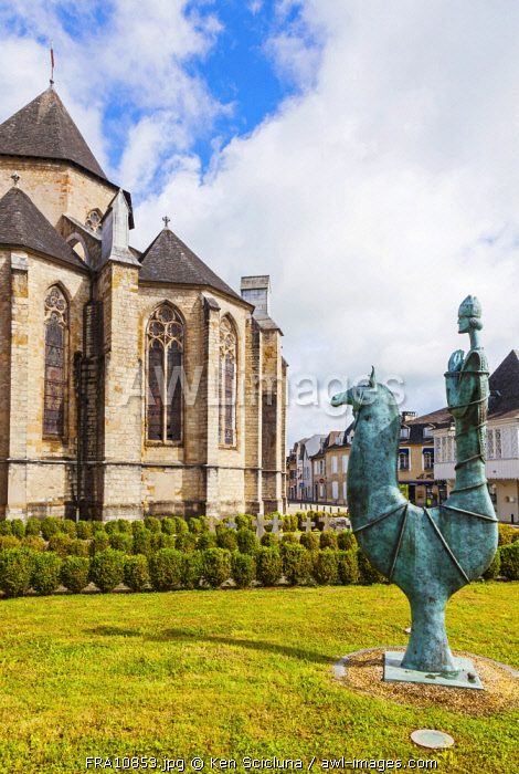 France. Nouvelle Aquitaine. Oloron Sainte Marie. Monument in front of the Cathedral of Oloron.
