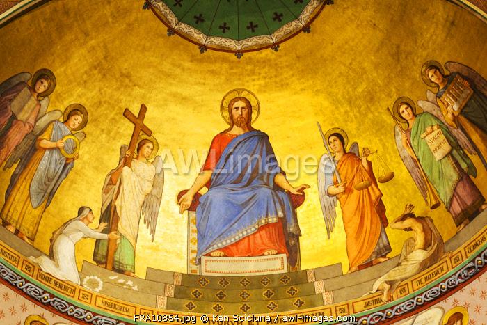 France. Nouvelle Aquitaine. Oloron Sainte Marie. Fresco on the central cupola of the Sainte Croix Church