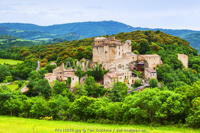 France, Occitanie, Dio et Valquieres. The Chteau de Dio or the Castle of Dio a majestic place surrounded by mountains and greenery slightly off route from the Via Tolosana or GR653 going towards Santiago di Compostela through France.