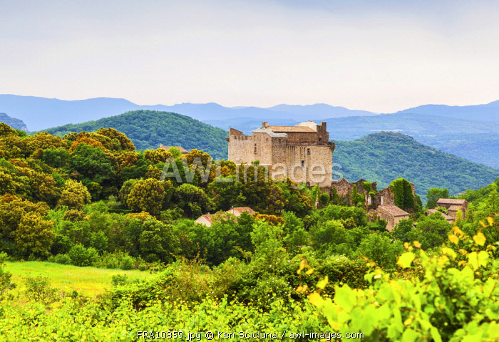 France, Occitanie, Dio et Valquieres. The Chteau de Dio or the Castle of Dio a majestic place surrounded by mountains and greenery with vineyards in the foreground slightly off route from the Via Tolosana or GR653 going towards Santiago di Compostela through France.