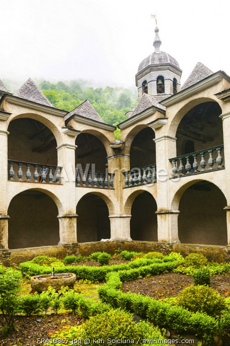 France. Pyrenees Atlantiques. Sarrance. The Monastery of St. Norbert in the hamlet of  Sarrance on the path of the Camino di Santigo on the Via Tolosana leading to the Pyrenees Atlantiques which cross over to Spain.