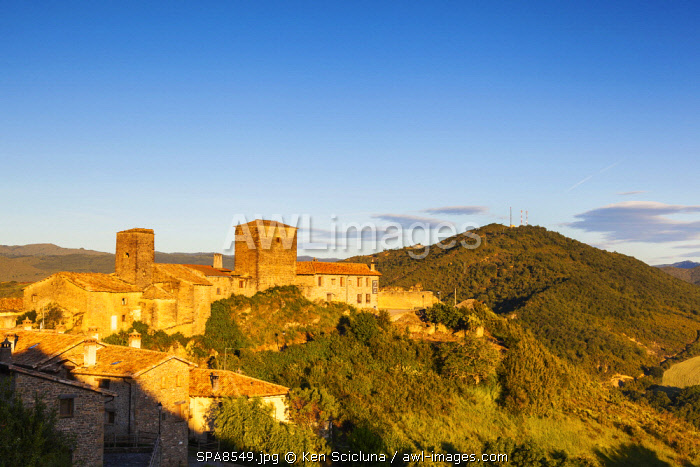 Spain. Catalonia. Arres. The ancient pictoresque village of Arres looking over to the French Pyrenees which borders Spain coming from the Via Tolosana and linking the Via Aragones towards Santiago de Compostela.