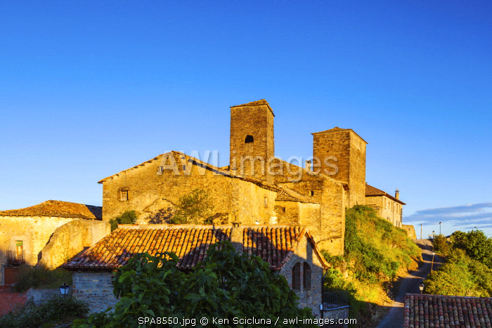 Spain. Catalonia. Arres.The ancient pictoresque village of Arres looking over to the French Pyrenees which borders Spain coming from the Via Tolosana and linking the Via Aragones towards Santiago de Compostela.
