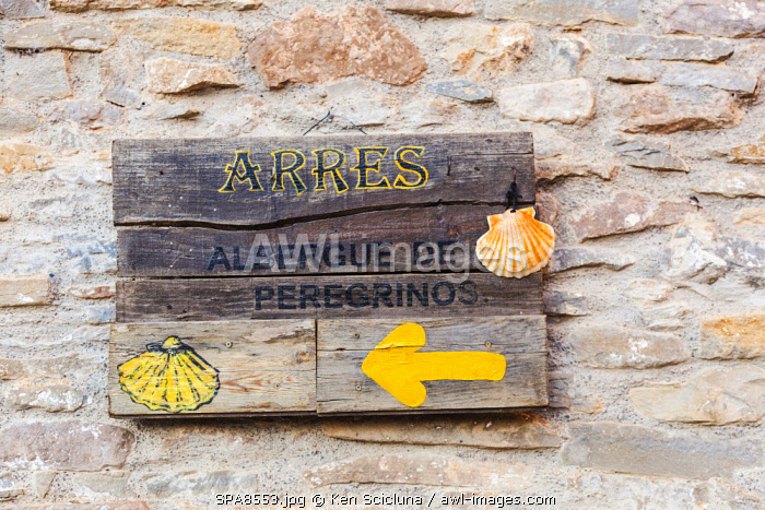 Spain. Catalonia. Arres. Sign at the Albergue de Pelegrino or Pilgrim s Hostel at the ancient village of Arres over to the French Pyrenees which borders Spain on the Via Aragones which comes over from France on the Via Tolosana leading eventually to Santiago de Compostela.This one on particular is hosted by the great association of Hospitaleros Voluntarios who are some of the most welcoming on the whole camino.