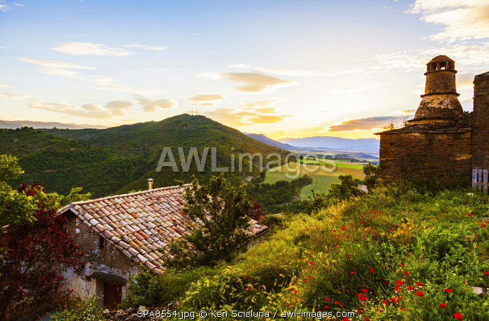 Spain. Catalonia. Arres. Atop the ancient village of Arres with an old house s chimney.