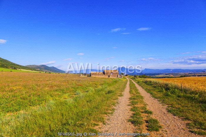 Spain, Catalonia, Region of Arres. The Camino di Santiago trail following the Camino Aragones towards Santiago de Compostela. This is reougly around a 1000 km away.