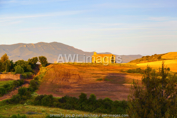 Spain, Aragon, Zaragoza. The small village of Undues de Lerda on the path of the Camino Aragones before reaching the famous Camino Frances few days on foot before Puenta la Reina.