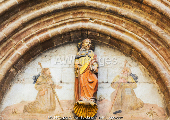 Spain, Navarre, Sanguesa. Old statue of Santiago de Compostela or Saint James the Apostle otherwise known as Santiago Apostol on the doorway of a Church in Sanguesa.