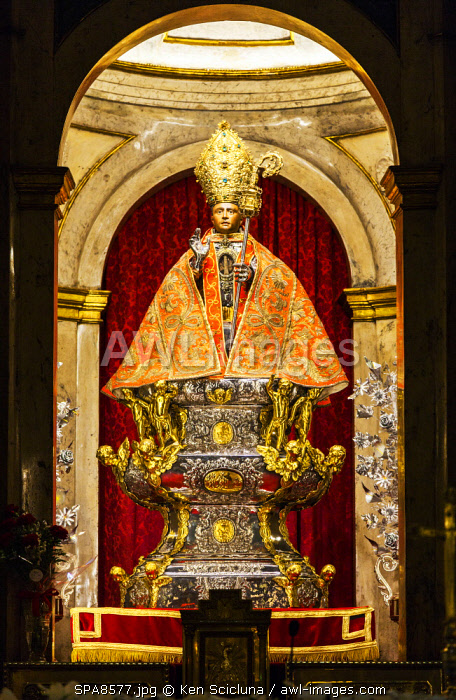 Spain, Navarre, Pamplona. The famed statue of San Fermin inside the church of St Lawrence.