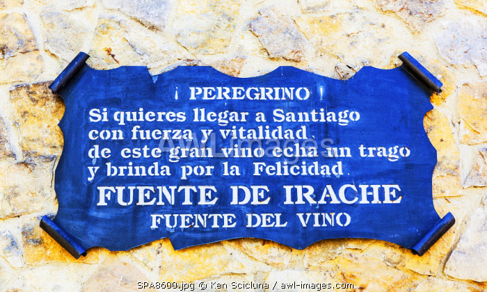 Spain, Navarre, Ayegui. Apilgrim sign for the Bodegas Irache with is Feunte del Vino. It is customary on the Camino routes especially the Camino Frances to have fountains of water. The Irache fountain also includes wine which makes it a speciality. It is in the territory of the now abandoned Benedictine monastery of Santa Maria la Real de Irache.