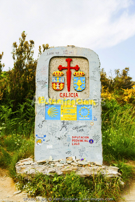 Spain, Galicia. A sign marking the entrance into Galicia which is the last region to reach Santiago de Compostela.