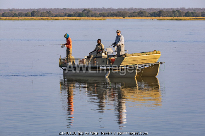 awl-images.com - Zambia / Zambia, Lower Zambezi National Park, Lusaka Province. Fishing for tiger fish on the Zambezi River.