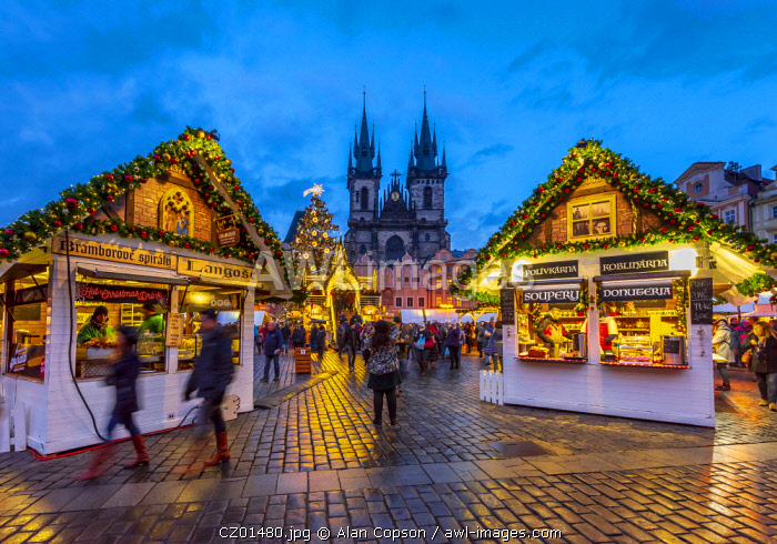 Czech Republic, Prague, Old Town, Stare Mesto, Old Town Square, Staromestske namestí, Tyn Church, Christmas Markets