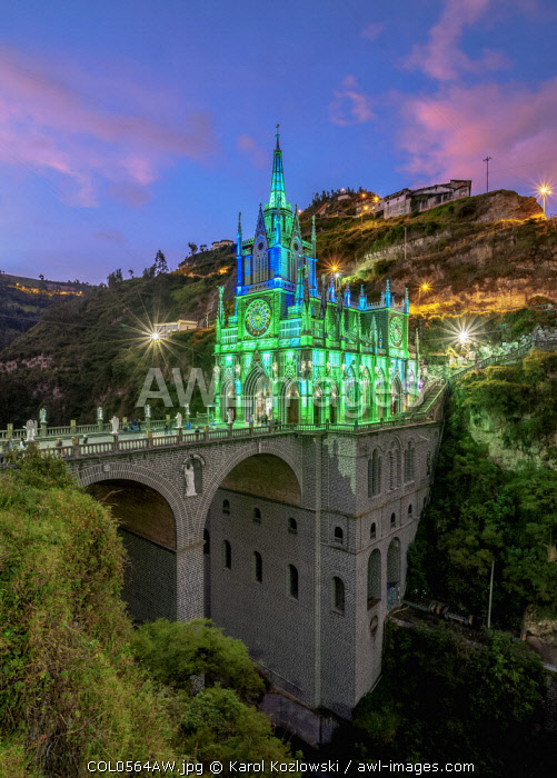 Las Lajas Sanctuary at dusk, Narino Departmant, Colombia