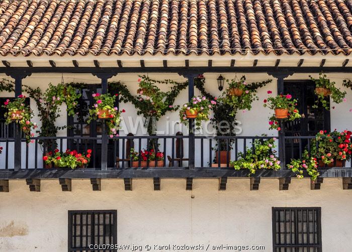 House with balcony at Main Square, Plaza Mayor, Villa de Leyva, Boyaca Department, Colombia