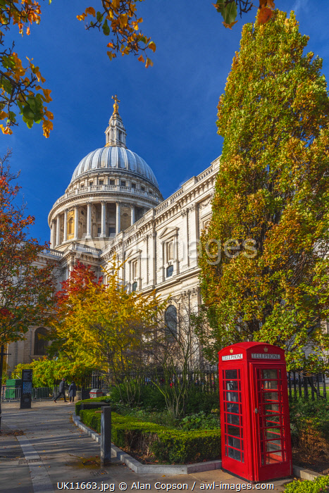 UK, England, London, St. Paul's Cathedral, Red Telephone Box