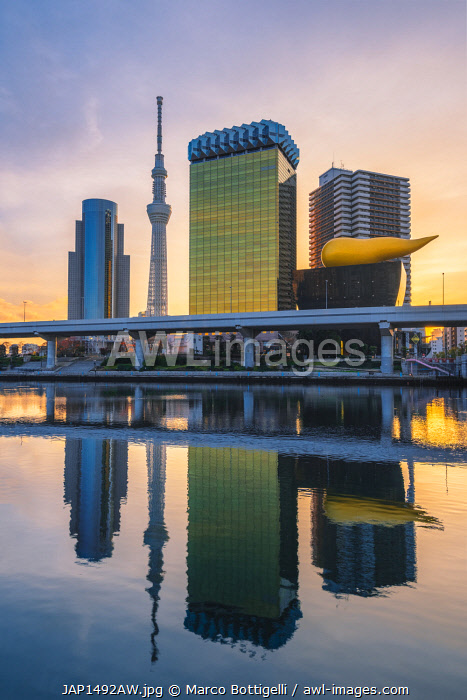 Tokyo Skytree and the Asahi Breweries headquarters along the Sumida river, Tokyo, Kanto region, Japan. Skyscrapers and the iconic �Asahi Flame� by Philippe Starck.