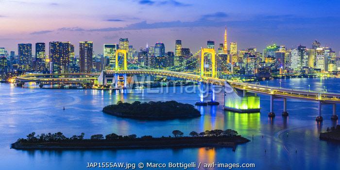 Rainbow Bridge and Tokyo Bay, Odaiba, Tokyo, Kanto region, Japan.