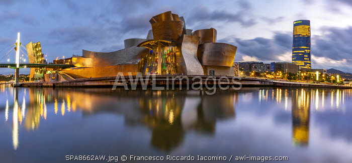 Spain, Basque Country Region, Vizcaya Province, Bilbao, Guggenheim Museum by architect Frank Gehry. View at sunset