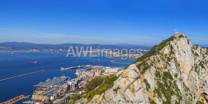 Gibraltar, View of Gibraltar rock, Gibraltar and in distance La Linea, Spain