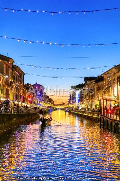 Naviglio Grande with Christmas lights, Milan, Lombardy, Italy, Europe