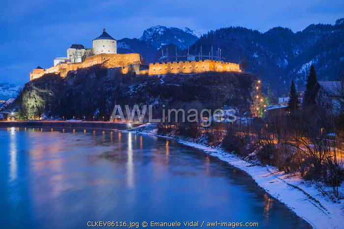 The fortress of Kufstein at evening, Kufstein, Innsbruck Land, Austria, Europe