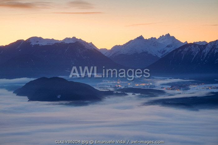 The Plateau of Mieming seen from Mösern at dusk, Mösern, Telfs, Innsbruck-Land, Tyrol, Austria, Europe