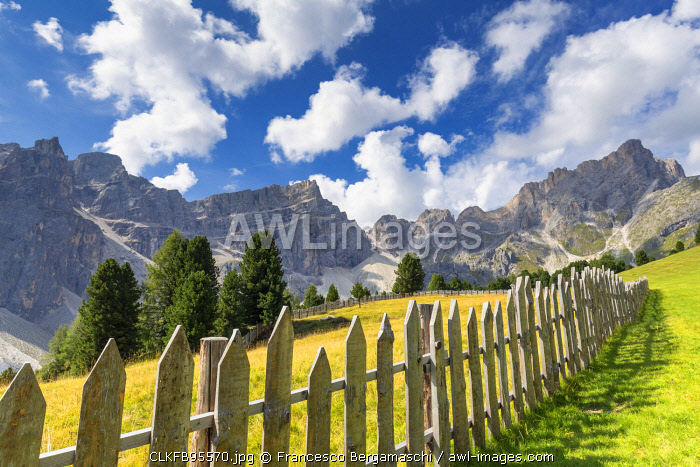 Fence with Puez Group in the background. Longiarù, Badia Valley, South Tyrol, Dolomites, Italy, Europe.