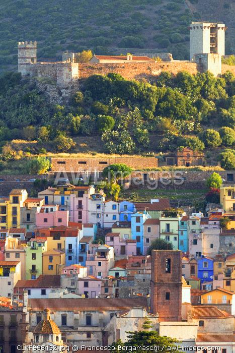 Village of Bosa with Serravalle castle(Castle of Malaspina). Bosa, Oristano province, Sardinia, Italy, Europe.