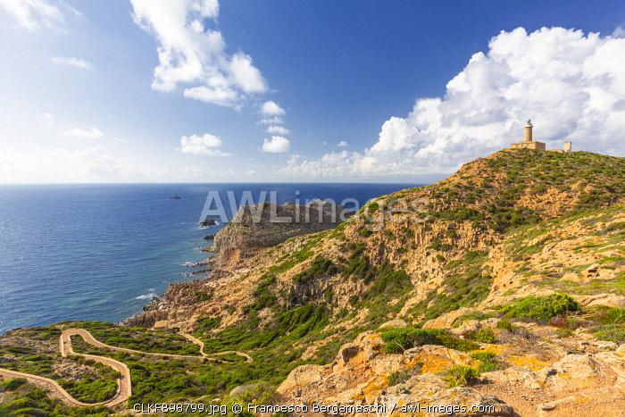 Lighthouse of Capo Sandalo, San Pietro Island, Sud Sardegna province, Sardinia, Italy, Europe.