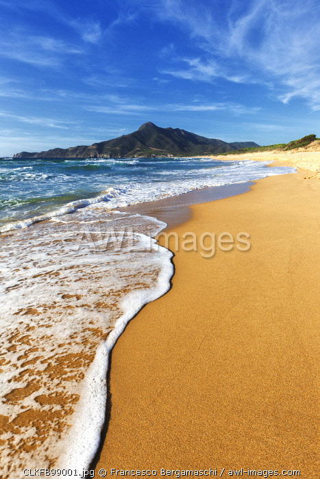 Waves on the sand beach of San Nicolò, Buggerru, Sud Sardegna province, Sardinia, Italy, Europe.