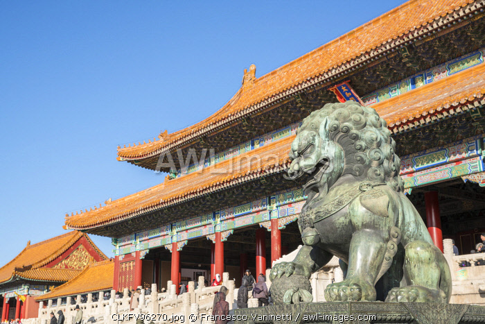 Bronze lion statue at the entrance of the Gate of Supreme Harmony, in the Forbidden City. Beijing, People's Republic of China.