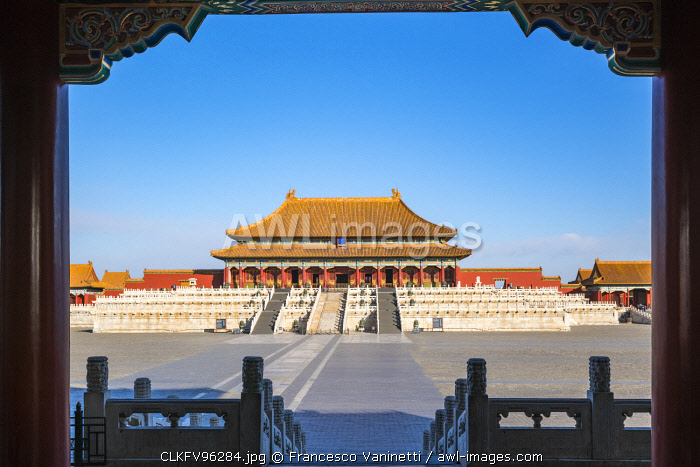 Hall of Supreme Harmony seen from the Gate of Supreme Harmony. Beijing, People's Republic of China.