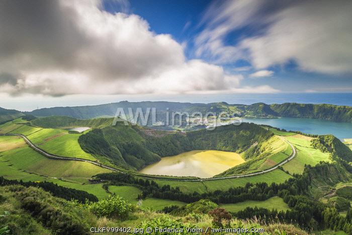 Portugal, Azores archipelago, Sao Miguel island, Sete Cidades, Boca do Inferno viewpoint, view over Lagoa Santiago and Lagoa Azul crater lakes