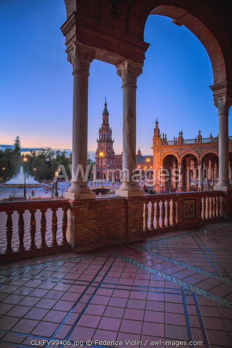 Spain, Andalucia, Seville. The Plaza De Espana in Maria Luisa Park