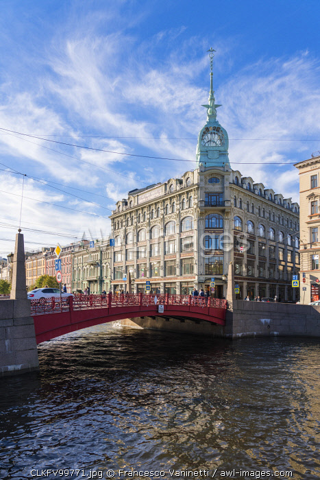 The Red Bridge on Moika river. Saint Petersburg, Russia.