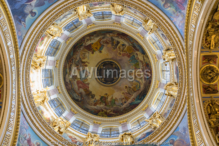 Details of the decorated interiors of Saint Isaac's Cathedral. Saint Petersburg, Russia.
