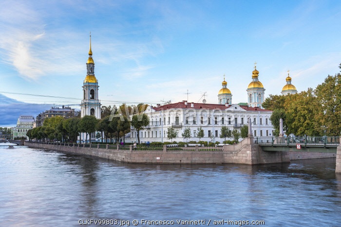 The bell tower and domes of Saint Nicholas Naval Cathedral on Griboyedov Canal. Saint Petersburg, Russia.