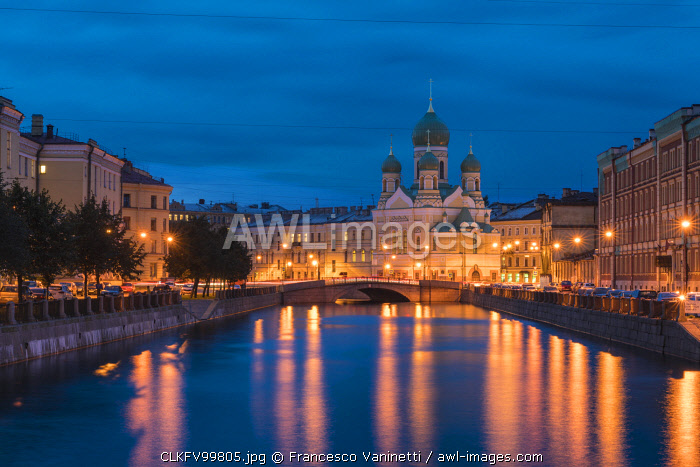 The Estonian Orthodox Holy Church of Saint Isidore on Griboyedov Canal at dusk. Saint Petersburg, Russia.