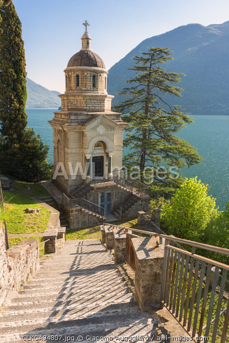 Small chapel belonging to the sanctuary of the Madonna dell'Immacolata on the shore of Lake Como, Brienno, Como Province, Lombardy, italy