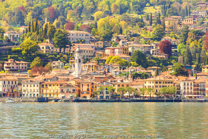 Menaggio town on Lake Como viewed from the touristic ferry, Menaggio, Como province, Lombardy, italy