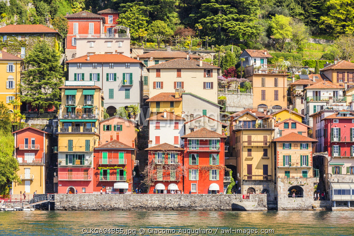 Close up of the colourful typical houses of Varenna village on Lake Como, Lecco province, Lombardy, Italy