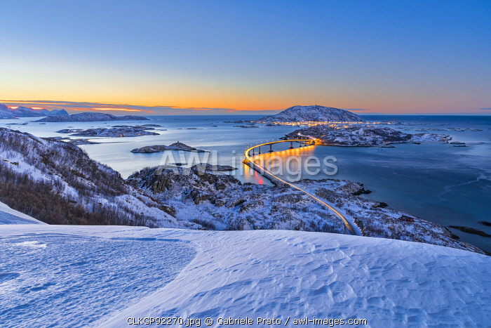 Sommaroy Island at dusk, Tromso, Halogaland district, Troms county, Northern Norway,
