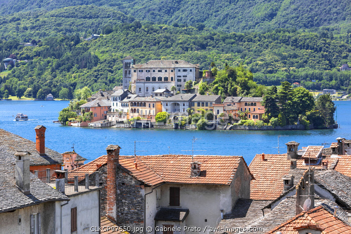 View of Island of San Giulio in the Lake Orta from Orta San Giulio village (Orta San Giulio, Lake Orta, Novara province, Piedmont, Italy, Europe)