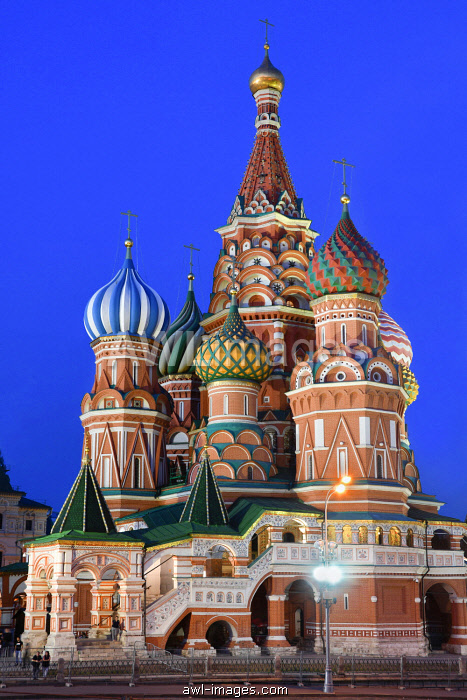 Night view of Saint Basil's Cathedral,(Cathedral of Vasily the Blessed), Red Square, Moscow, Russia