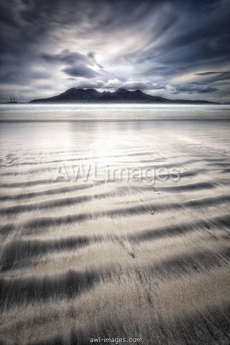 Island of Rhum from Laig beach, Island of Eigg, Hebrides, Scotland, United Kingdom
