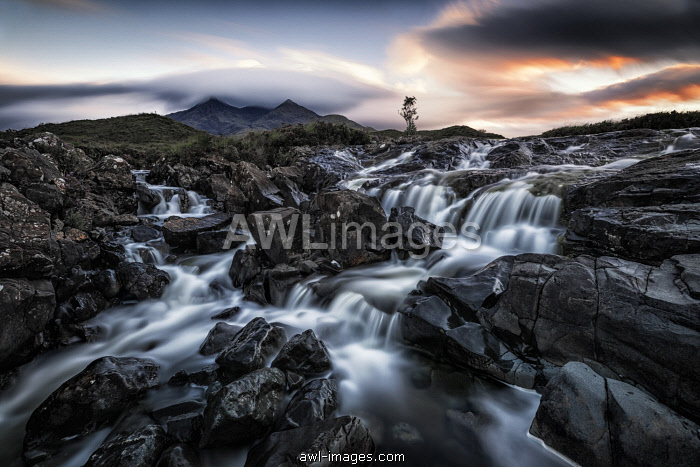 Sligachan waterfalls, island of Skye, Hebrides, Scotland, United Kingdom